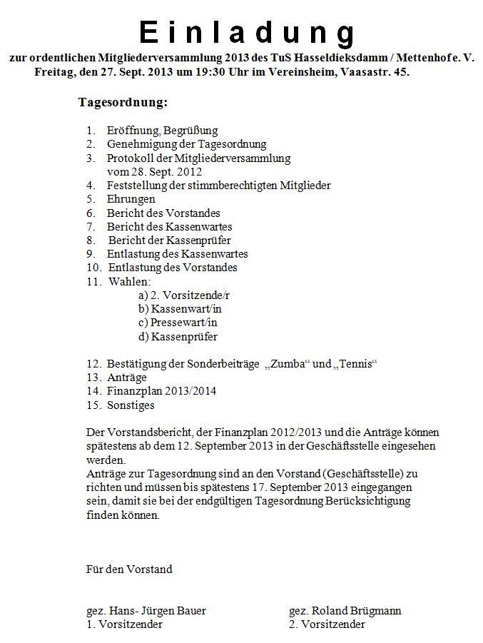 Einladung ordentliche Mitgliederversammlung 2013 2